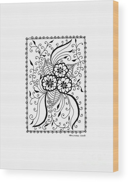 Floral Wood Print featuring the drawing Floral Burst by Billinda Brandli DeVillez