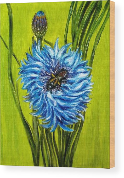 Flower Wood Print featuring the painting Flower And Bee Oil Painting by Natalja Picugina