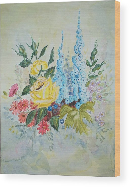 Roses Flowers Wood Print featuring the painting Flower Bouquet by Irenemaria
