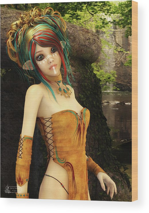 Fairy Wood Print featuring the digital art Forest Fairy by Sister of Darkness
