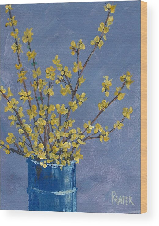 Flowers Wood Print featuring the painting Forsythia by Pete Maier