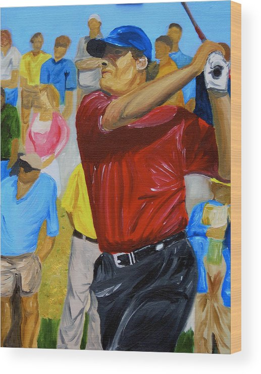 Golf Wood Print featuring the painting Four by Michael Lee