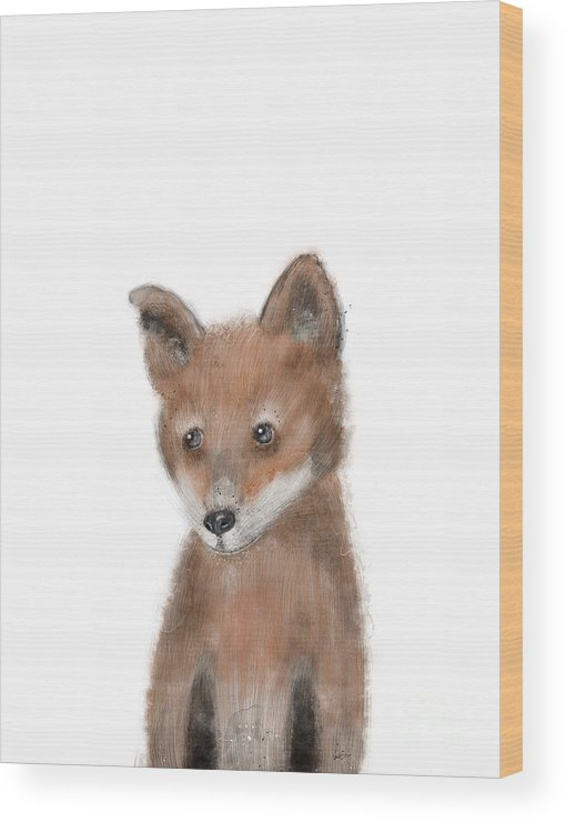 Fox Wood Print featuring the painting fox by Bri Buckley