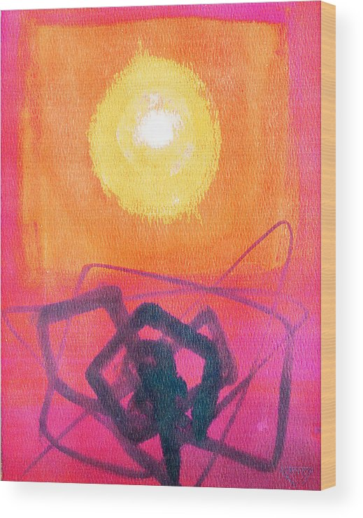 Abstract Yellow Orange Red Black Brush Strokes Enlightened Emotions Free Wood Print featuring the painting Freeing The Tangled Mind by Jennifer Baird