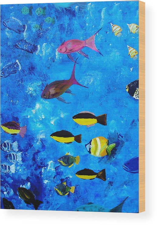 Fish Ocean Blue Vibrant Abstract Tropical Fun Wood Print featuring the painting Frivolity Downunder by Sher Green