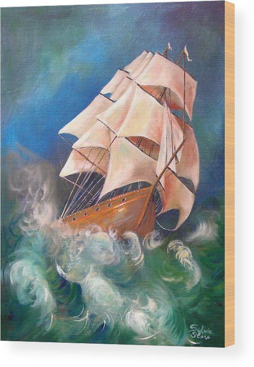 Sail Wood Print featuring the painting Full Blowm by Sylvia Stone