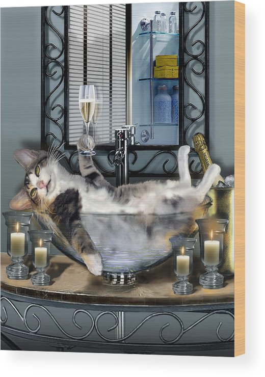 Funny Pet Print Wood Print featuring the painting Funny Pet Print With A Tipsy Kitty by Regina Femrite