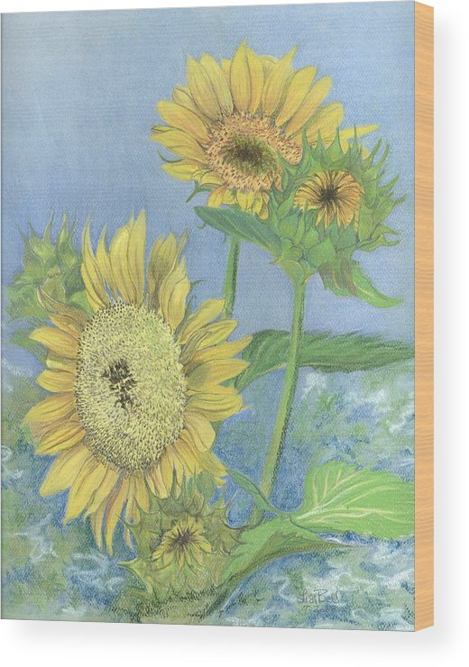 Florals Wood Print featuring the painting Garden Beauties by Lisa Bell