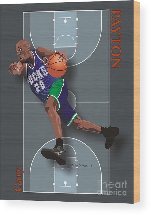 Portraits Wood Print featuring the digital art Gary Payton by Walter Oliver Neal