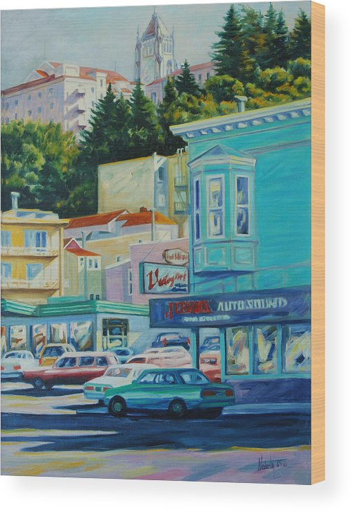 Cityscape Wood Print featuring the painting Geary Street by Rick Nederlof