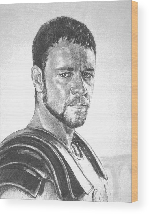 Portraits Wood Print featuring the drawing Gladiator by Iliyan Bozhanov