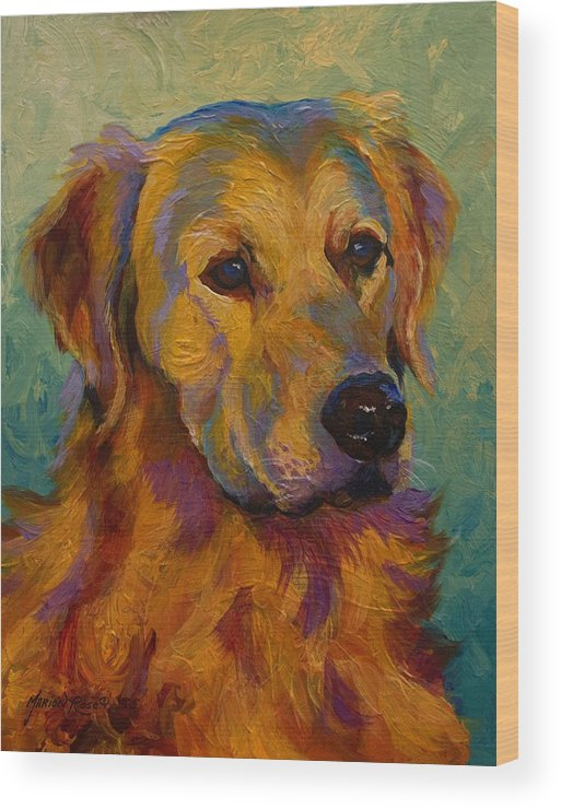 Golden Wood Print featuring the painting Golden Retriever by Marion Rose