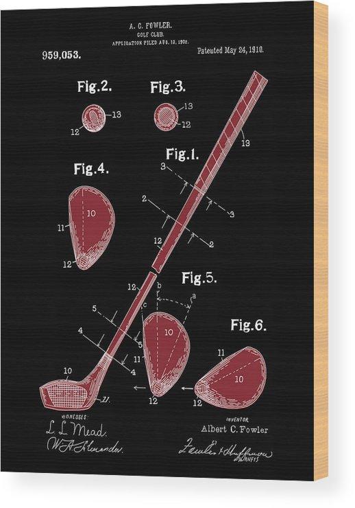 Golf Wood Print featuring the digital art Golf Club Patent Drawing Black 2 by Bekim Art