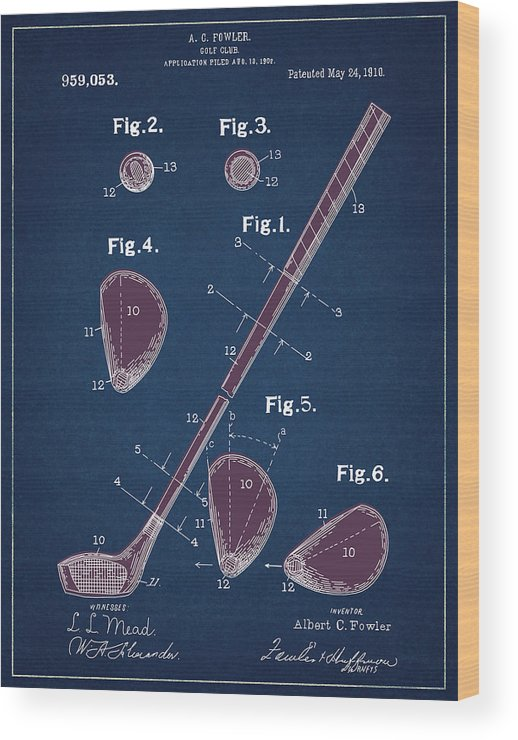Golf Wood Print featuring the digital art Golf Club Patent Drawing Navy Blue 2 by Bekim Art