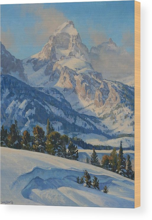 Landscape Wood Print featuring the painting Grand Teton by Lanny Grant