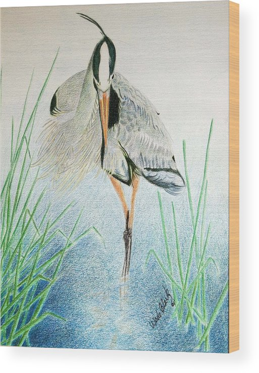 Animals Wood Print featuring the painting Great Blue Heron by Wade Clark