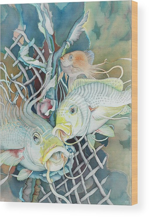 Fish Wood Print featuring the painting Groupers And Their Friends by Liduine Bekman