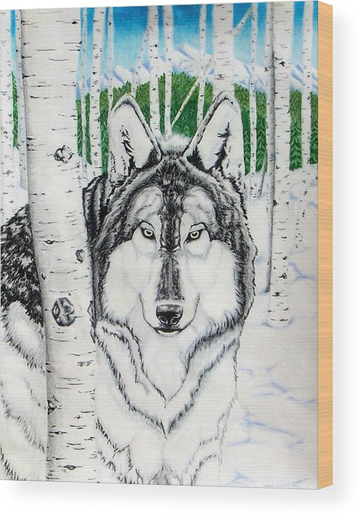 Wolf Wood Print featuring the drawing Guardian Of The Forest by Lori White