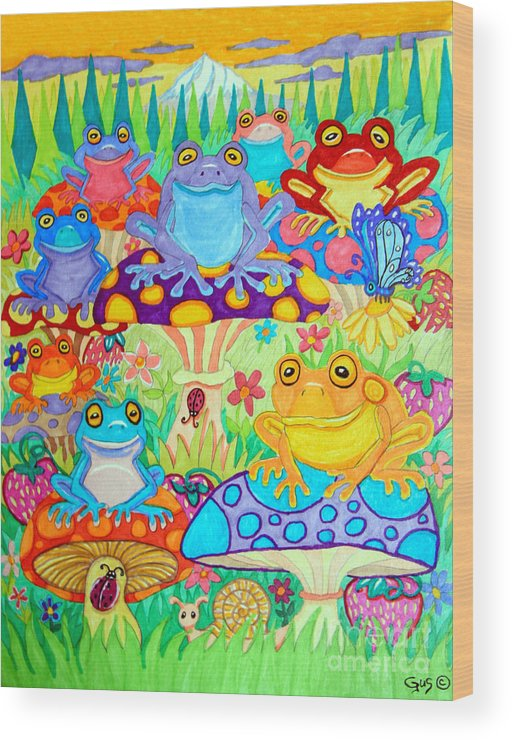 Frog Wood Print featuring the drawing Happy Frogs In Mushroom Valley by Nick Gustafson