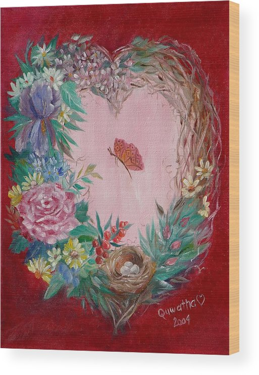 Heart Wood Print featuring the painting Heart Wreath by Quwatha Valentine