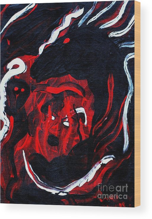 Horse Woman Red Black Silver Wood Print featuring the painting Hell Beast by Dawn Downour