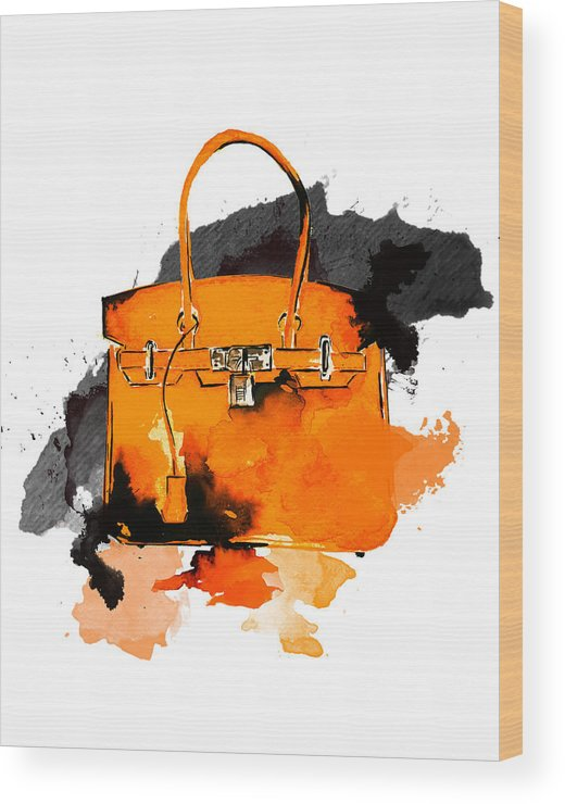 0116c250f9 Art Wood Print featuring the painting Hermes Bag