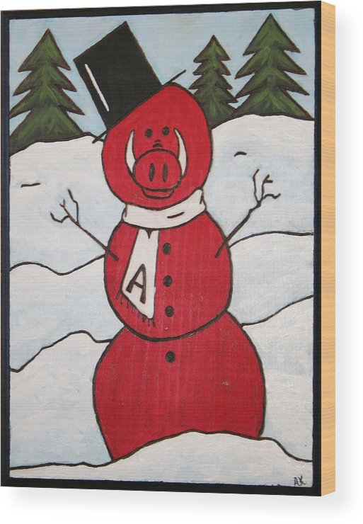 Arkansas Razorbacks Wood Print featuring the painting Hog Snowman by Amy Parker