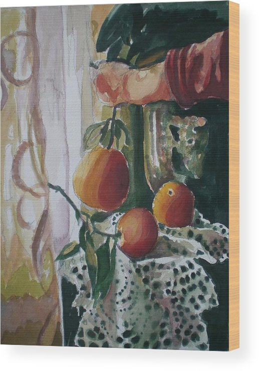 Still Life Wood Print featuring the painting Holding  An Orange by Aleksandra Buha