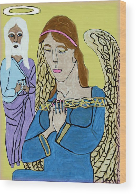 Holy Jesus Religion Christmas Season Wood Print featuring the painting Holy Jesus Praise The Lord by Betty Roberts