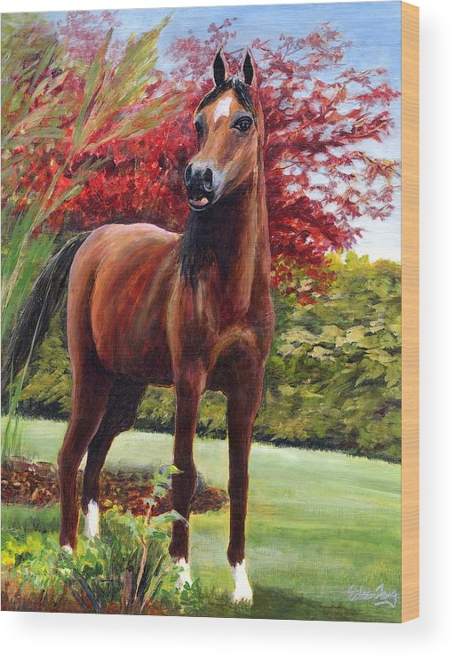 Horse Wood Print featuring the painting Horse Portrait by Eileen Fong