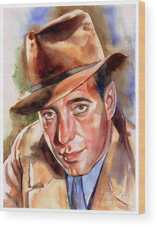 Humphrey Wood Print featuring the painting Humphrey Bogart Portrait by Suzann Sines