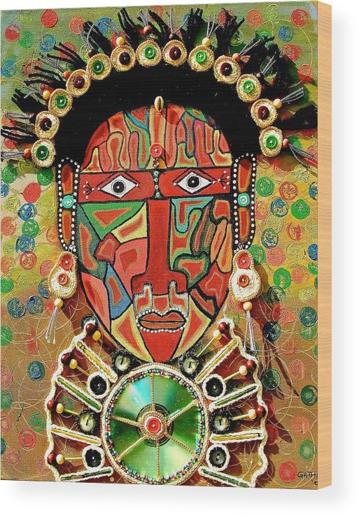 True African Art Wood Print featuring the painting Hypnotizing Child by Gathinja