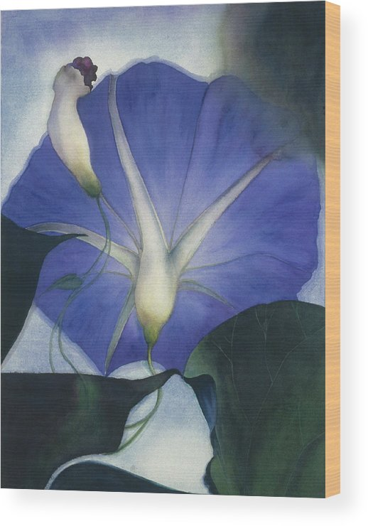 Morning Glory Wood Print featuring the painting Into The Blue by Nancy Ethiel