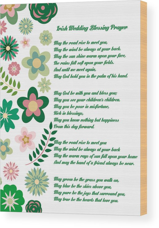 Irish Wedding Blessing Prayer Wood Print by Celestial Images