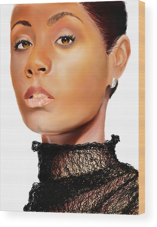 Wood Print featuring the digital art Jada Pinkett - Smith - 01 by Anthony Anthony ICONS