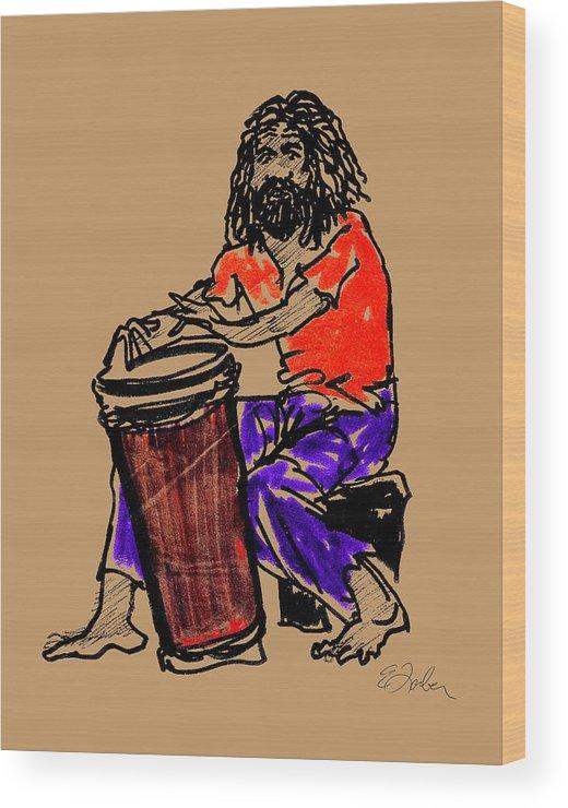 Jamaica Jamaican Drummer Drum Wood Print featuring the digital art Jamaican Drummer by Edward Farber