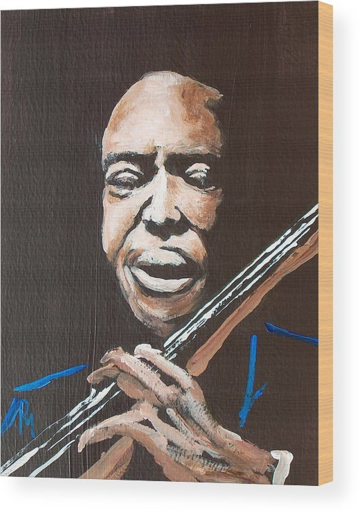 Jazz Wood Print featuring the painting Jimmy Garrison by Pete Maier