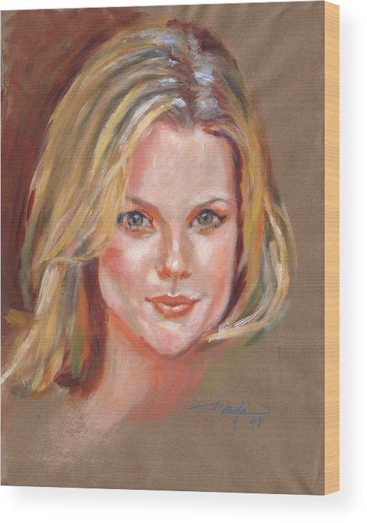Portrait Wood Print featuring the painting Joanna by Horacio Prada