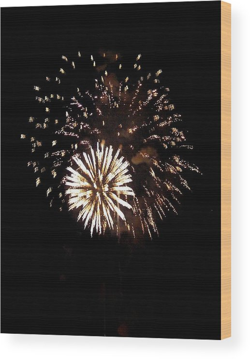 Fireworks Wood Print featuring the photograph July 4th Fireworks by Jeanette Oberholtzer