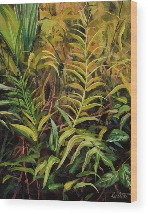 Tropical Flora Wood Print featuring the painting Jungle Ferns by Ric Castro