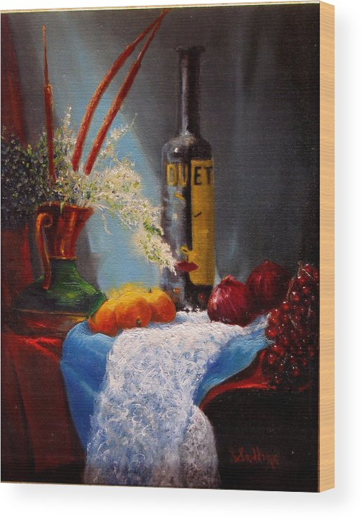Still Life Wood Print featuring the painting Just Duet by David Sullins