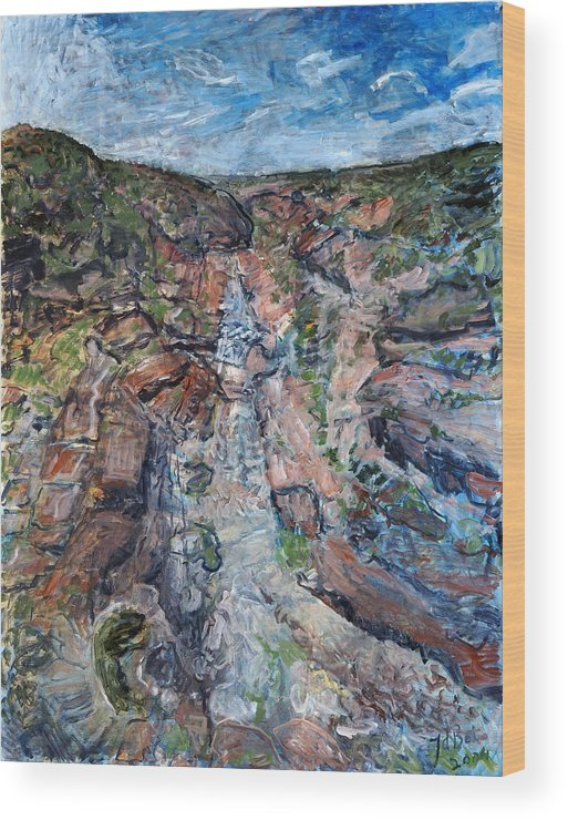 Gorge Wood Print featuring the painting Kalbarri Gorge by Joan De Bot