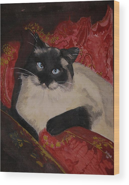 Cat Wood Print featuring the painting Kato by Joshua Armstrong