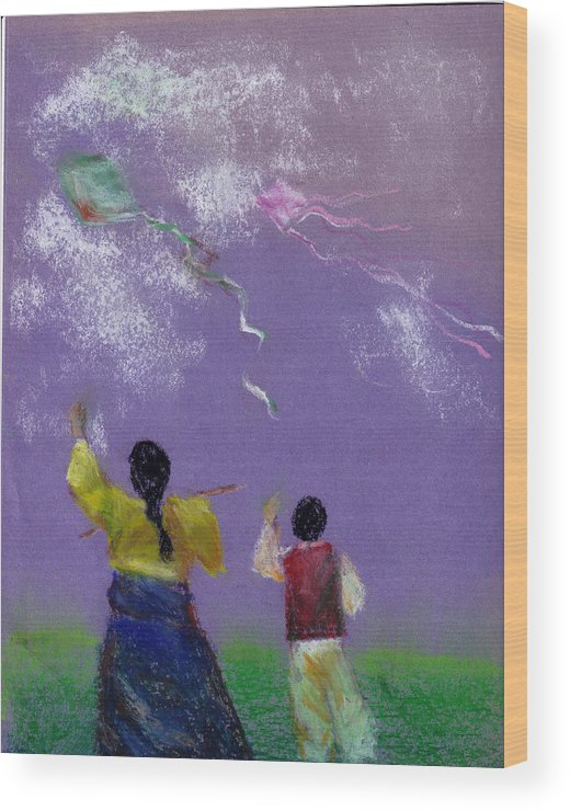 Flying Kite In A Sunny Day-oil Pastel Wood Print featuring the drawing Kite Flying by Mui-Joo Wee