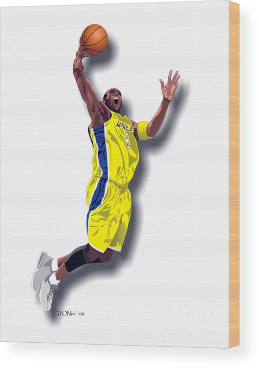 Male Portraits Wood Print featuring the digital art Kobe Bryant 8 by Walter Oliver Neal