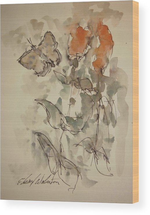 Landscape Wood Print featuring the painting Lakeside Butterflies by Edward Wolverton