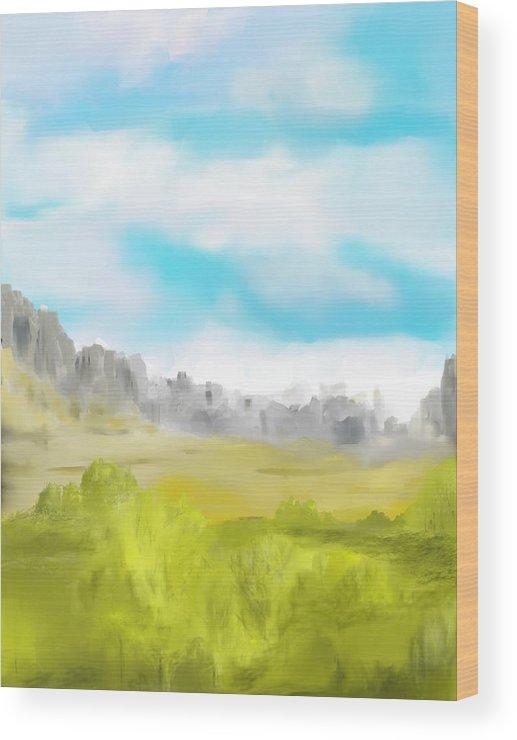 Landscape Wood Print featuring the digital art Landscape 040710 by David Lane