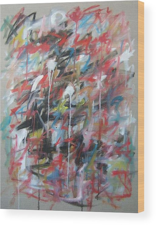 Abstract Wood Print featuring the painting Large Abstract No 4 by Michael Henderson