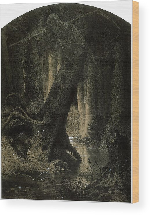 Arthur Grottger Wood Print featuring the painting Large Forest by Arthur Grottger