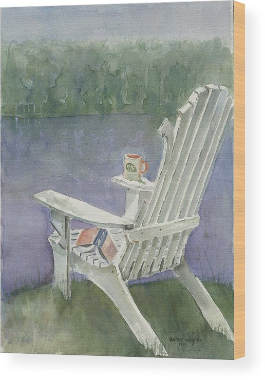 Chair Wood Print featuring the painting Lawn Chair By The Lake by Arline Wagner